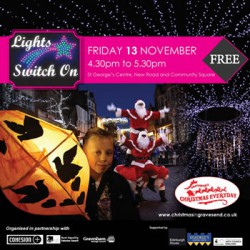 Christmas light switch on square
